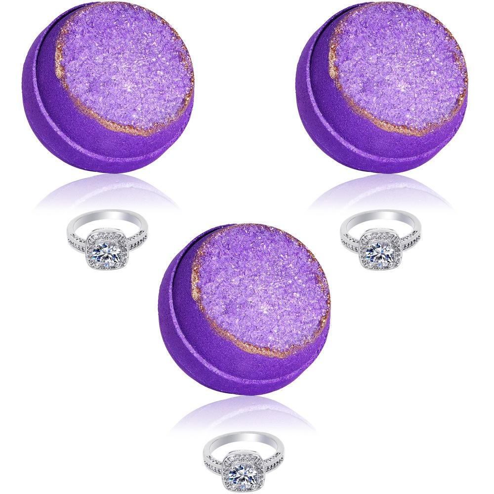 Purple Amethyst Geode Bath Bomb 3 Pack Gift Set