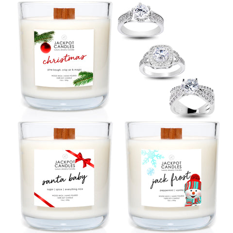 Christmas Candles Wooden Wick 3 Pack Gift Set - Santa, Jackfrost and More