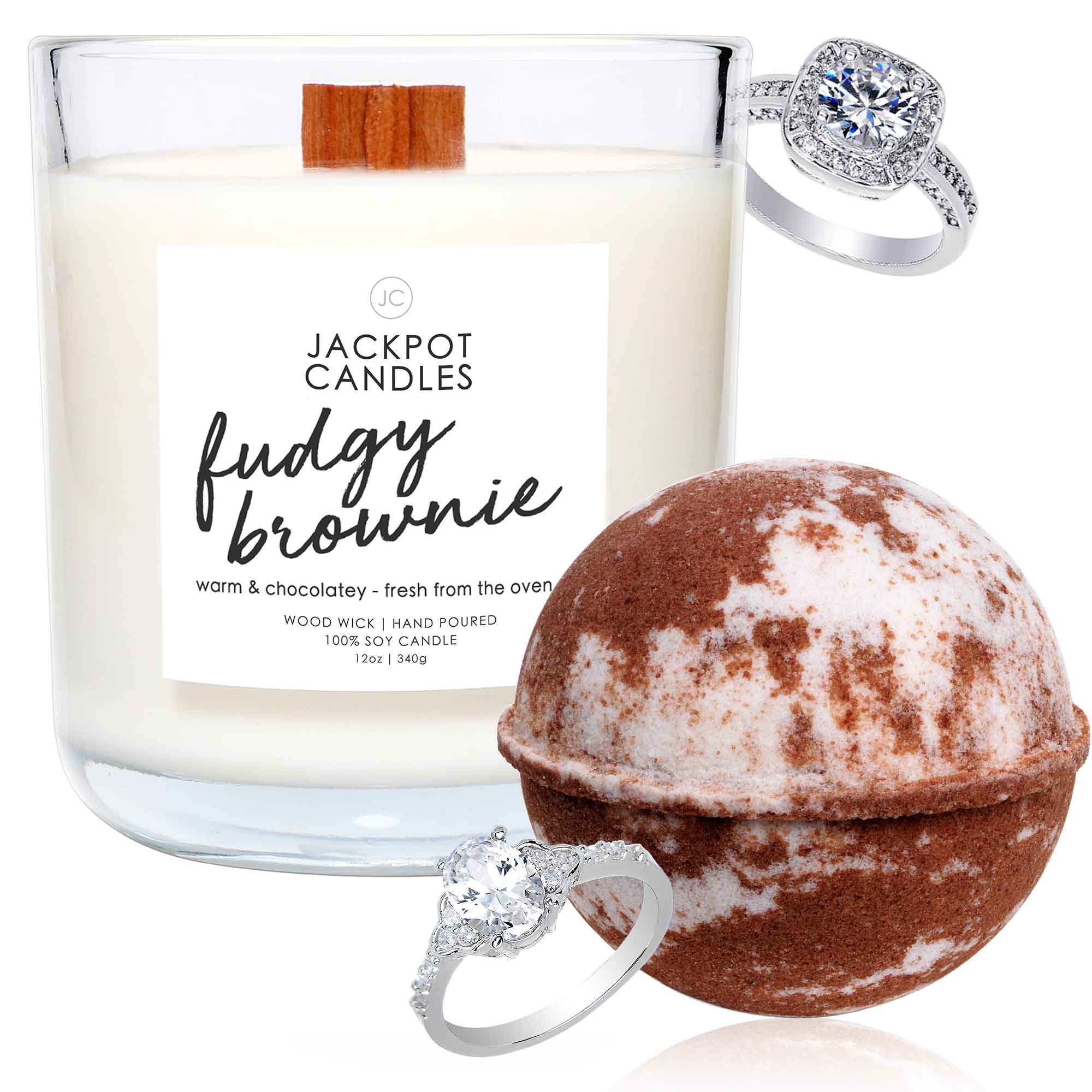 Chocolate Dreams Wooden Wick Candle & Bath Bomb Gift Set