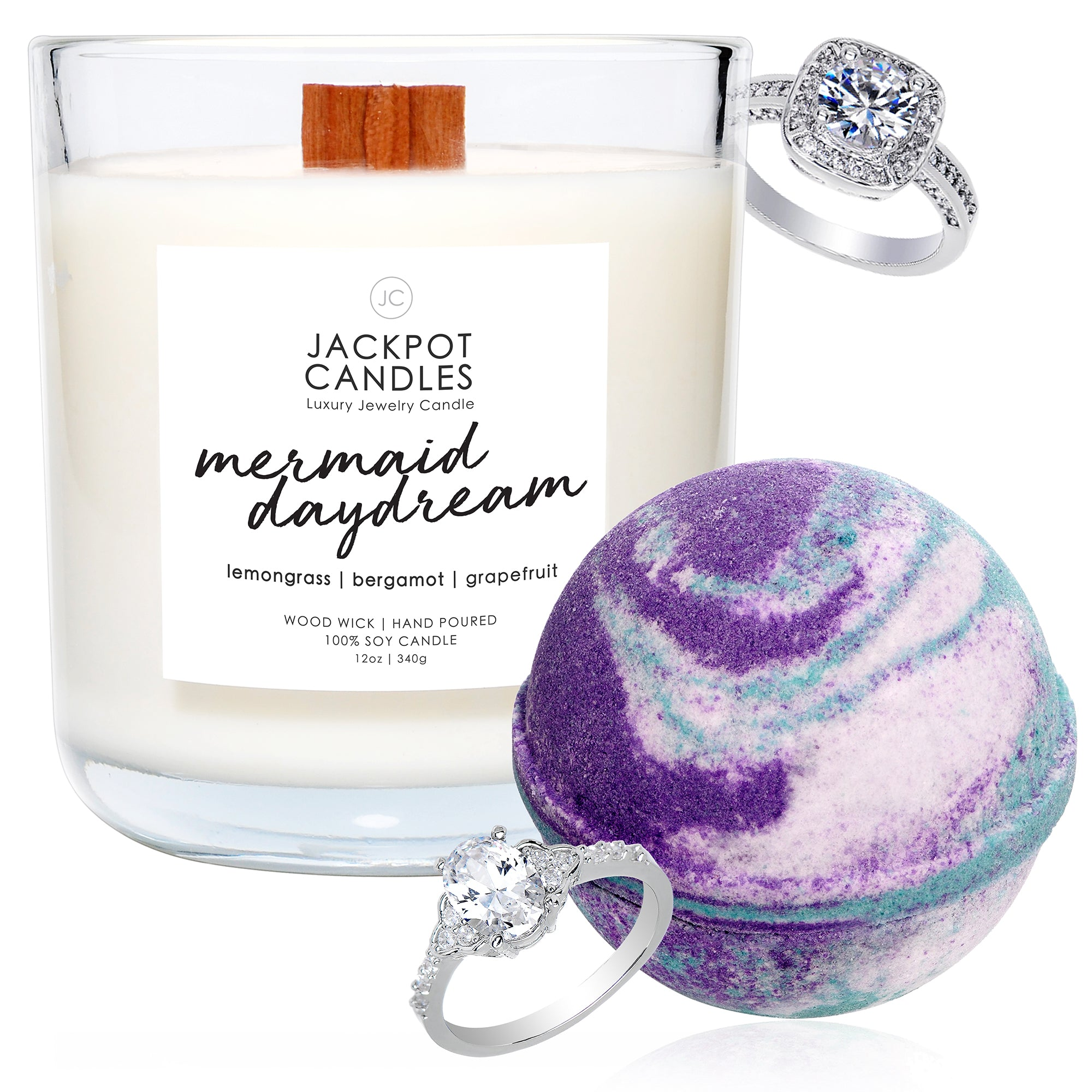 Mermaid Daydream Wooden Wick Candle & Bath Bomb Gift Set