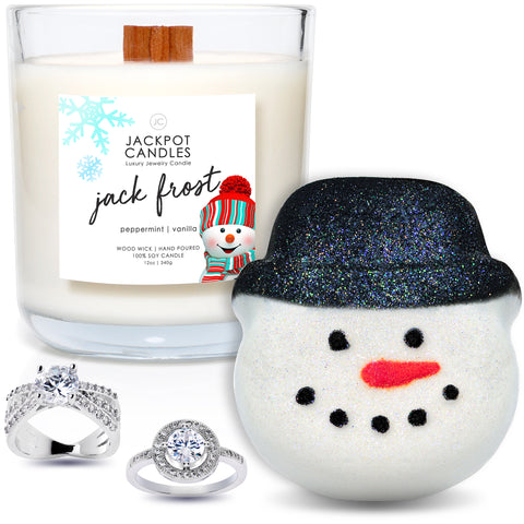 Jack Frost Candle with Wooden Wick & Bath Bomb Gift Set