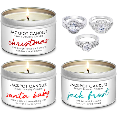 Christmas Candles - 3-Pack Jewelry Ring Candle Travel Tin Gift Set