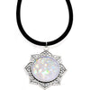 Handcrafted White Faux Opal Lotus Love Velveteen Cord Necklace 16""