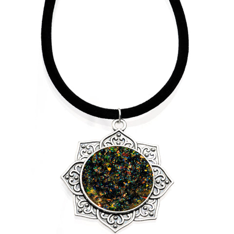 Handcrafted Black Faux Opal Lotus Love Velveteen Cord Necklace 16""