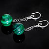 Handcrafted Green Swirl Malachite Jawbreaker Dangle Fishhook Earrings
