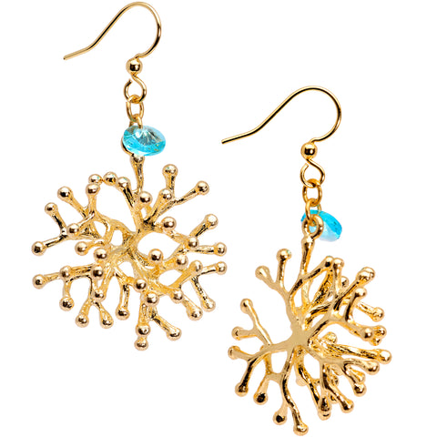 Handmade Sea Coral Fishhook Earrings Created with Swarovski Crystals
