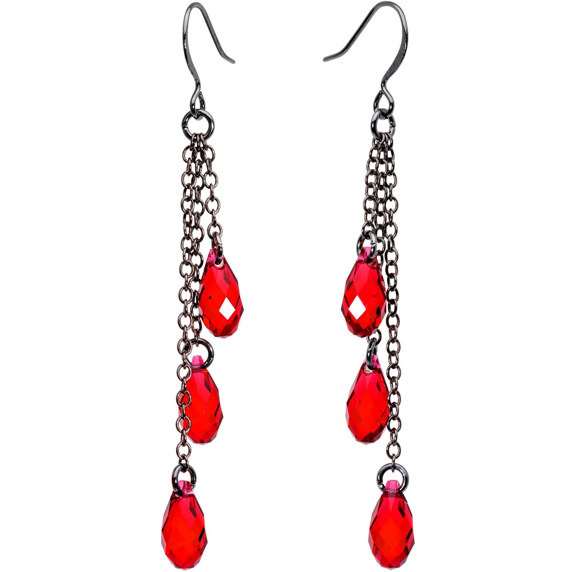 Handmade Vampire Drop Dangle Earrings Created with Swarovski Crystals