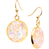 Handcrafted Pink Faux Opal Gold Plated Big Deal Fishhook Earrings