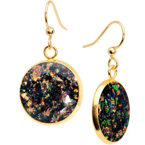Handcrafted Black Faux Opal Gold Plated Big Deal Fishhook Earrings