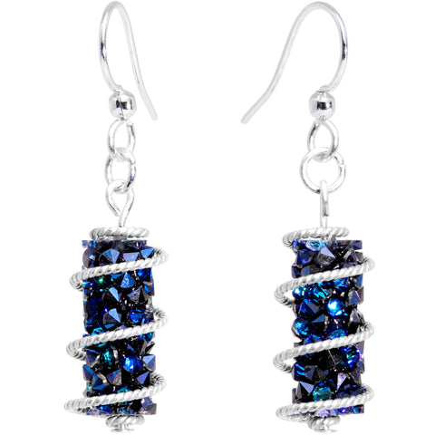 Handmade Blue Wrap Fishhook Earrings Created with Swarovski Crystals