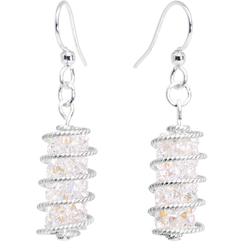 Handmade White Wrap Fishhook Earrings Created with Swarovski Crystals