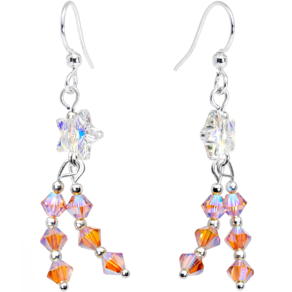 Handcrafted Star Trail Dangle Earrings Created with Swarovski Crystals 9a6b34383a83
