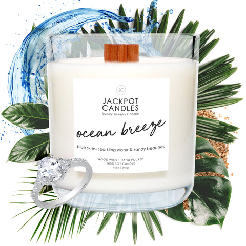 Ocean Breeze Wooden Wick Jewelry Ring Candle