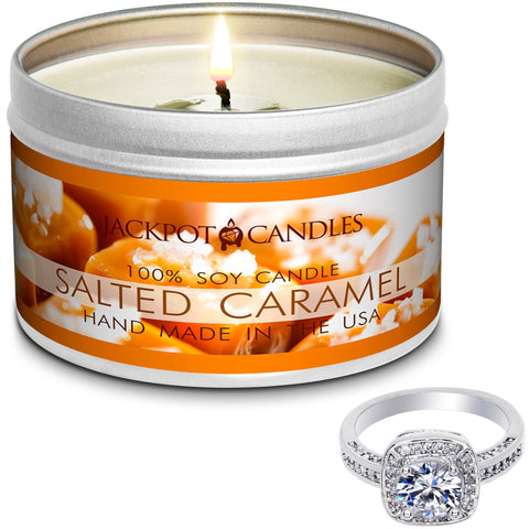 Salted Caramel Jewelry Ring Candle Travel Tin