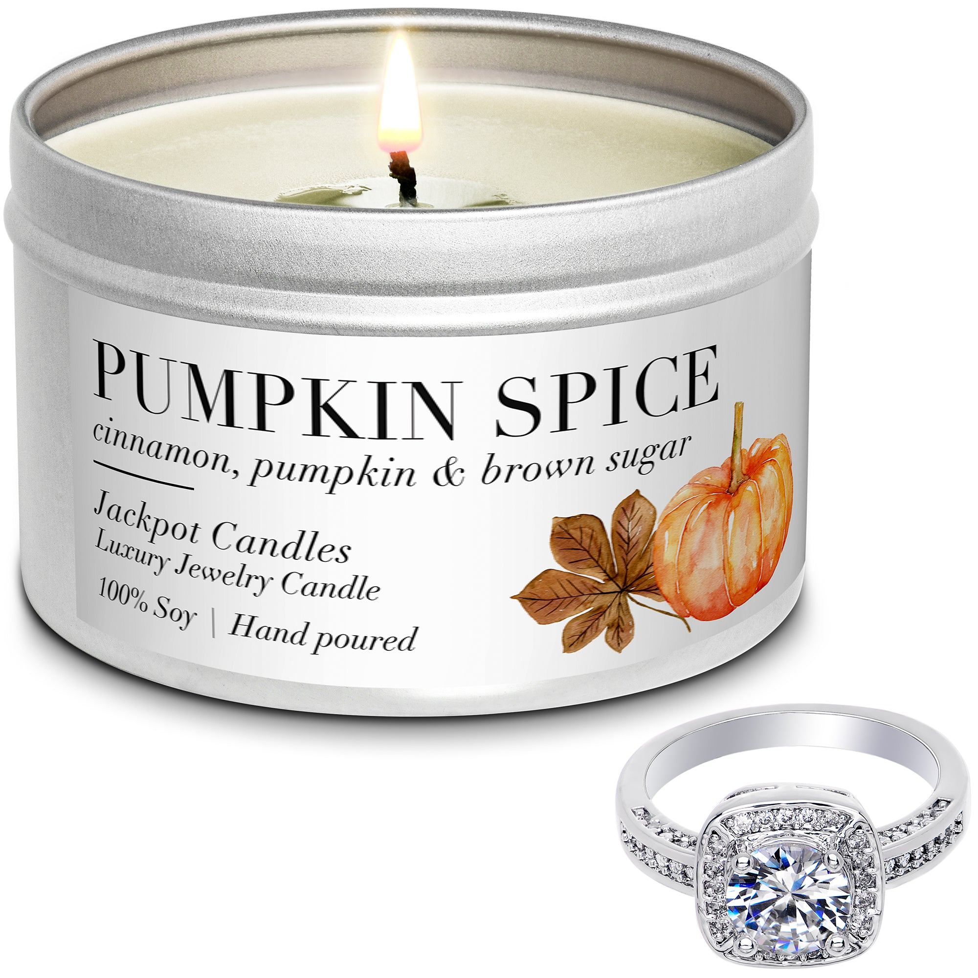 Pumpkin Spice Jewelry Candle Travel Tin Ring