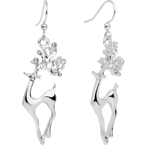Clear CZ Gem Silver Plated Prancing Reindeer Fishhook Earrings