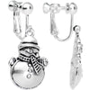 Silver Plated Chubby Christmas Snowmen Clip On Earrings