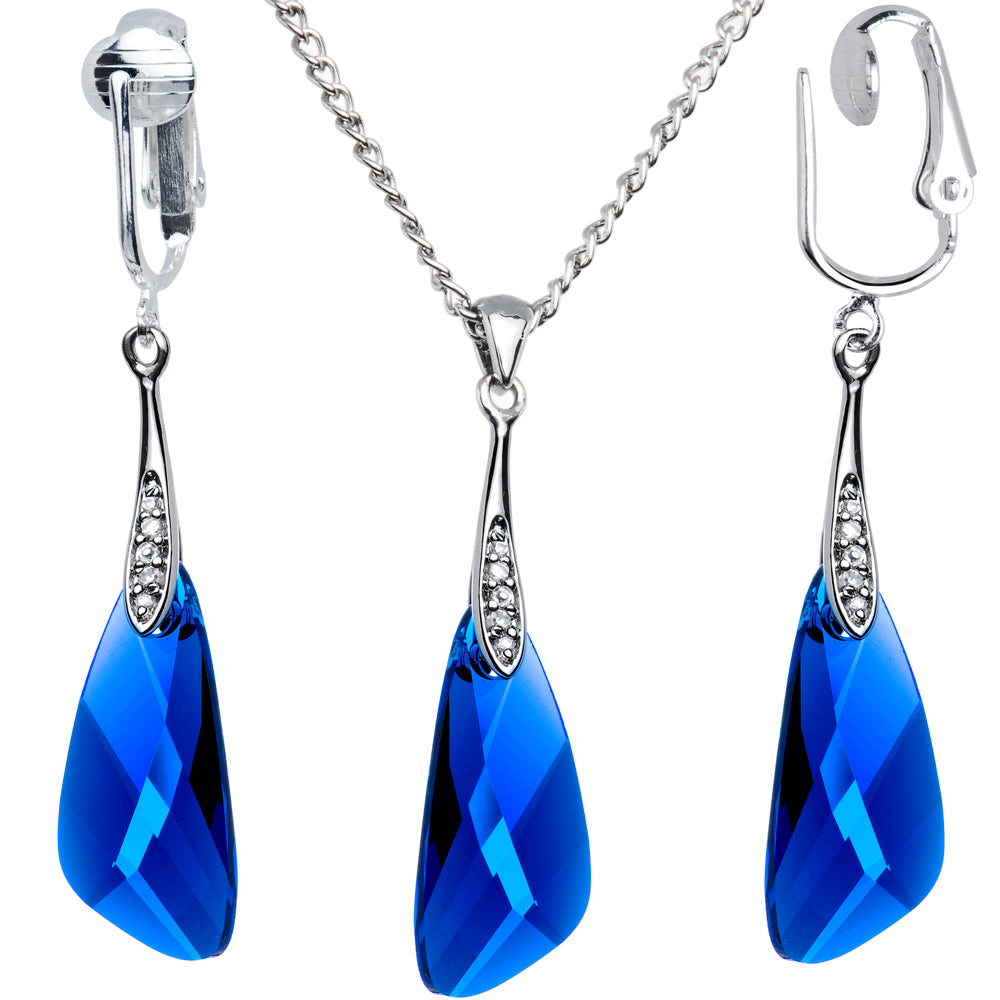 Blue Inspire Necklace Clip Earrings Set Made with Swarovski Crystals