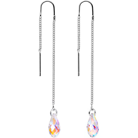 Handcrafted Aurora Threader Earrings Created with Swarovski Crystals