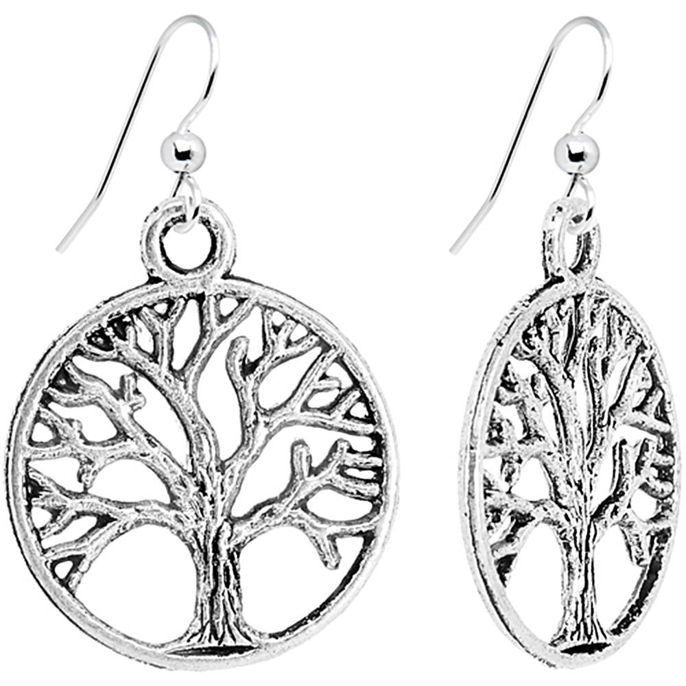 Silver Tone Tree of Life Dangle Earrings