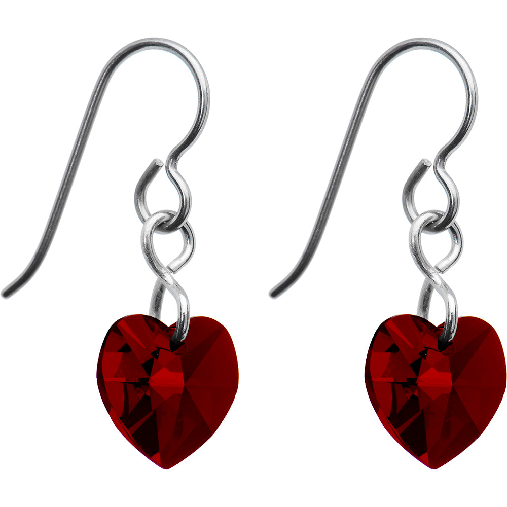 Titanium Heart January Earrings Created with Swarovski Crystals