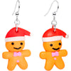 Silver Plated Holiday Gingerbread Santa Fishhook Earrings