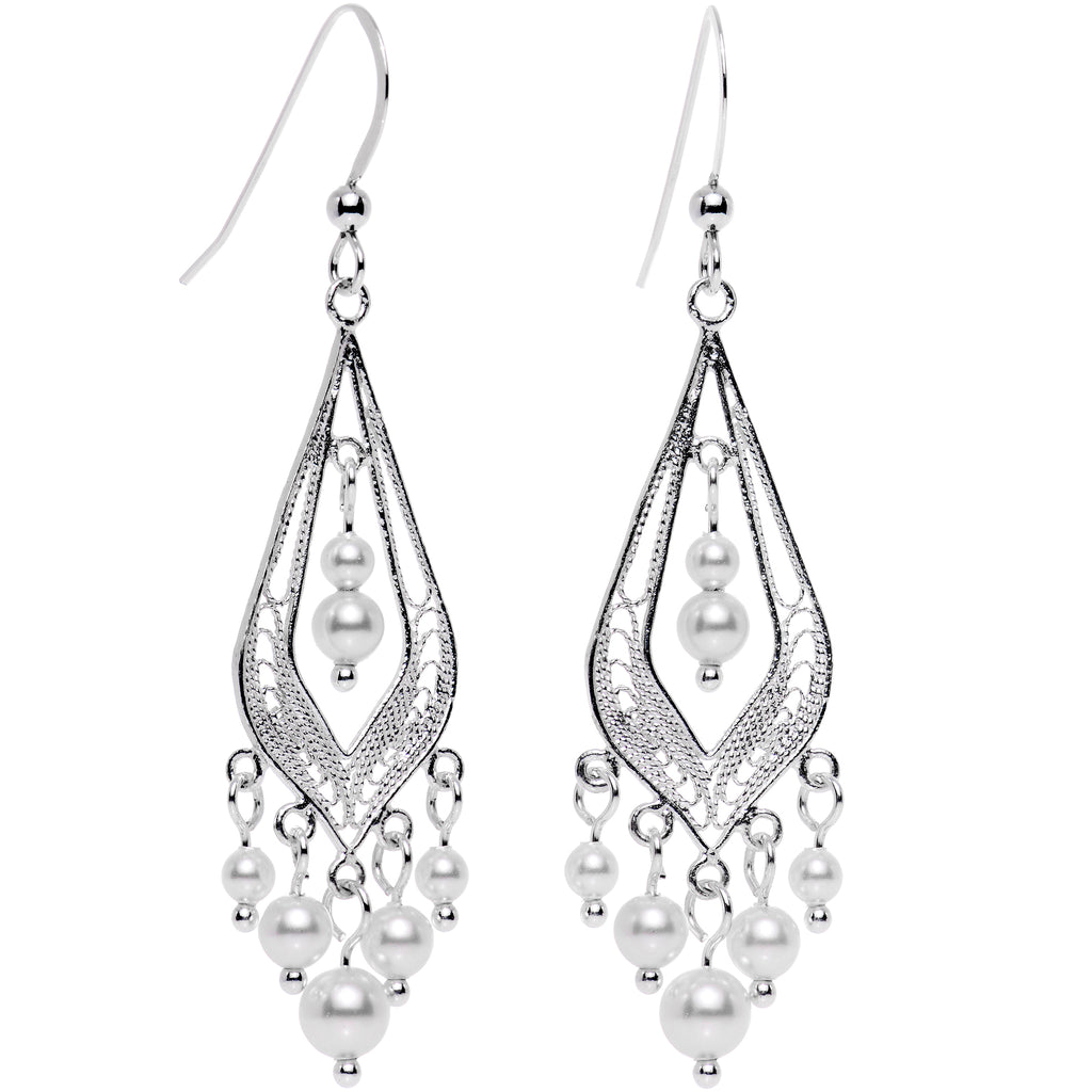 925 Silver Faux Pearl Earrings Created with Swarovski Crystals