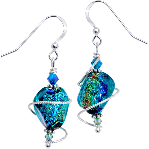Handmade Teal Dichroic Glass Earrings Created with Swarovski Crystals