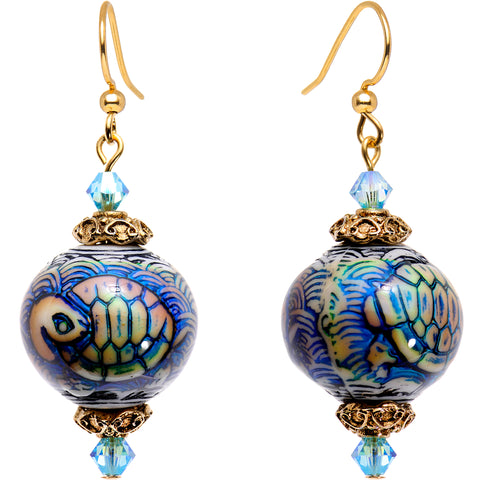 Handcrafted Sea Turtle Mood Earrings Created with Swarovski Crystals