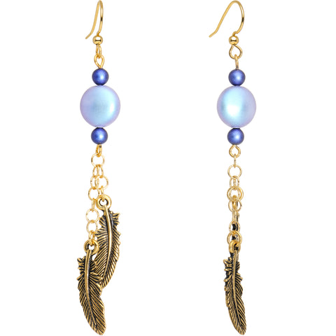 Quill Feather Fishhook Dangle Earrings Created with Swarovski Crystals