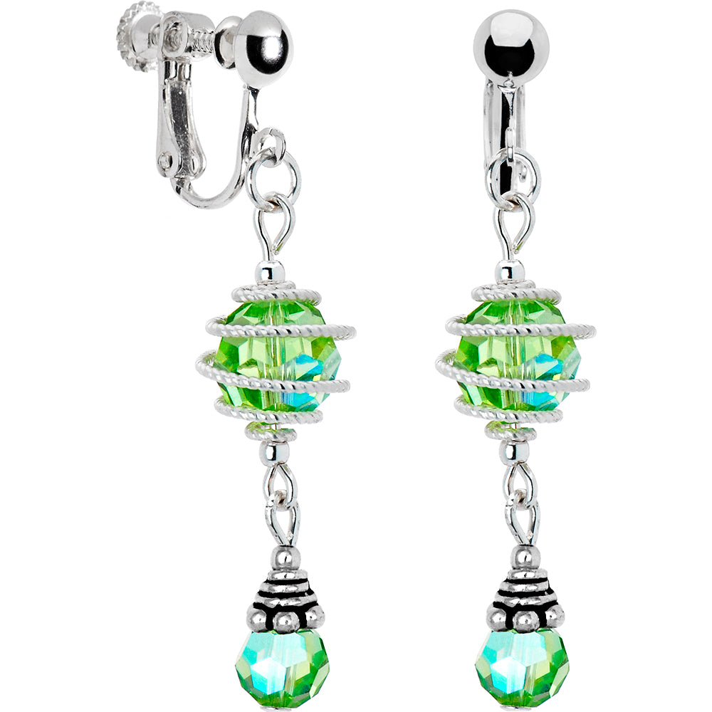 Peridot Aurora Swirl Clip Earrings Created with Swarovski Crystals