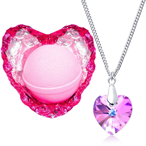 Image of Love Potion Bath Bomb with Necklace Created with Swarovski Crystal