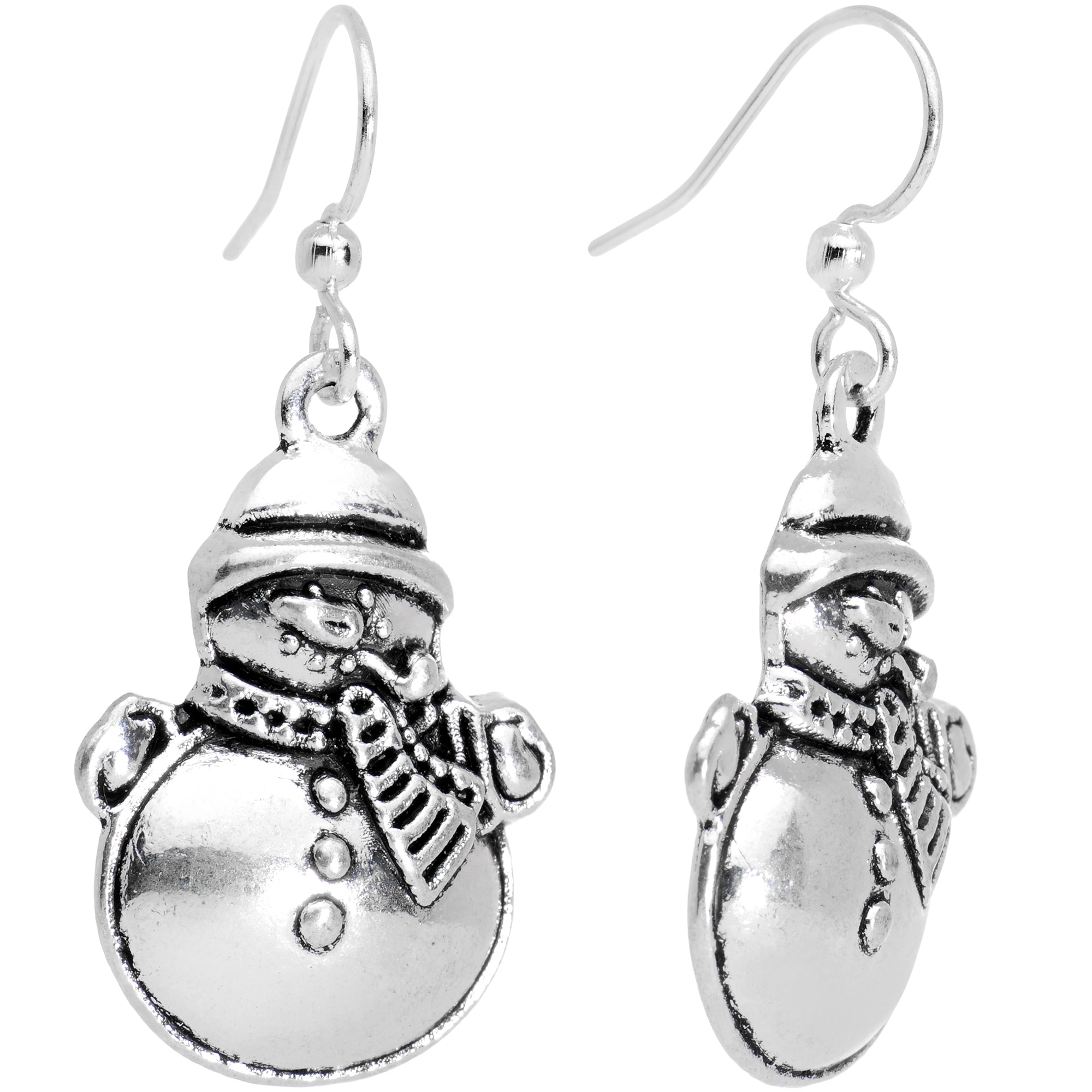 Silver Plated Chubby Christmas Snowmen Fishhook Earrings