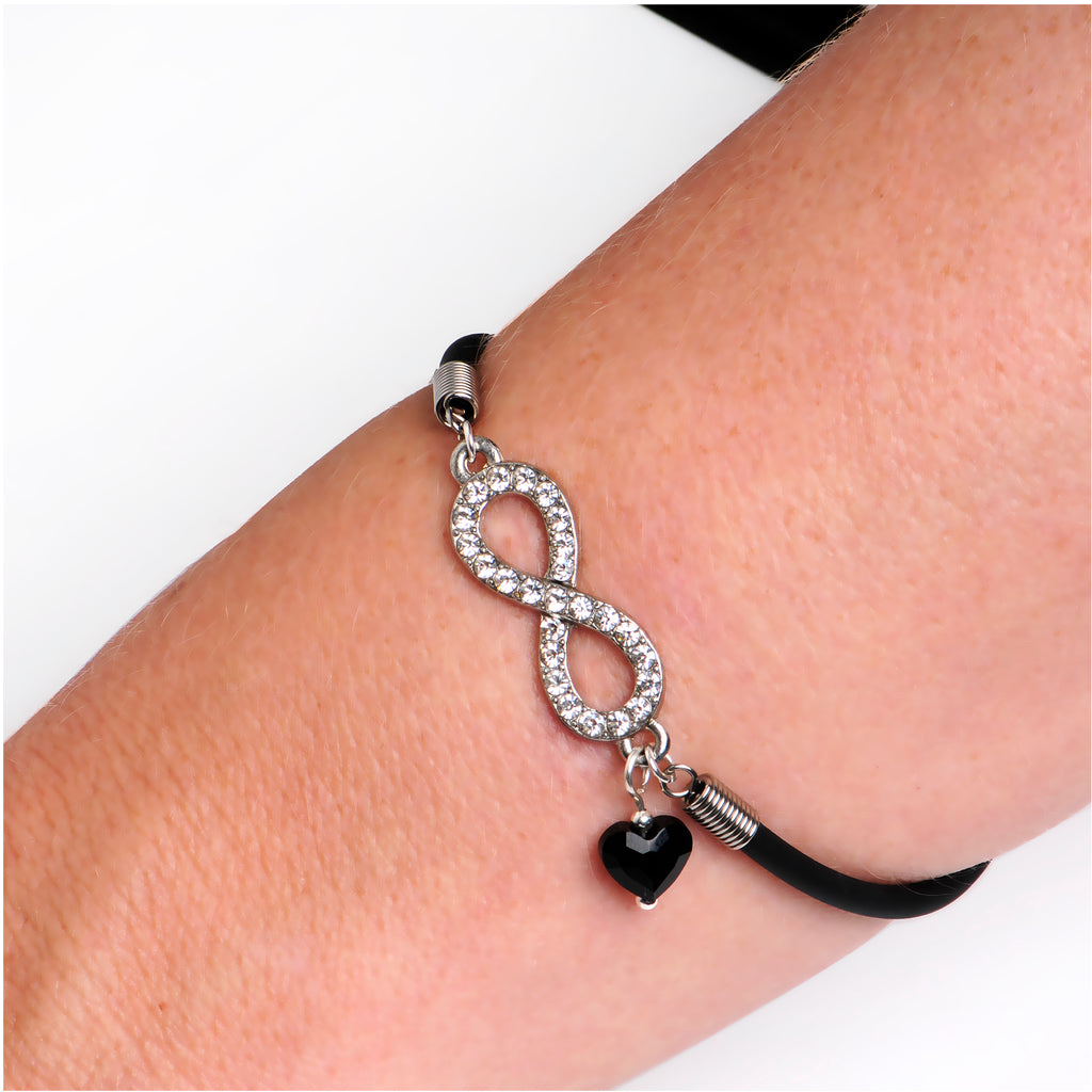 Clear Infinity Black Heart Bracelet Created with Swarovski Crystals