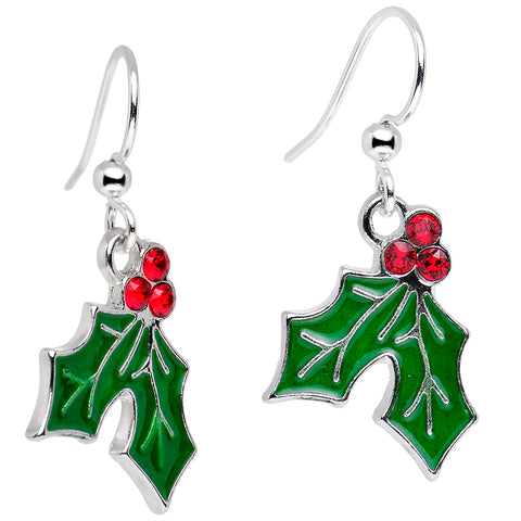 Christmas Holly Dangle Earrings Created with Swarovski Crystals