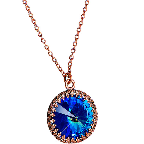 Handmade Blue Bombastic Necklace Created with Swarovski Crystals