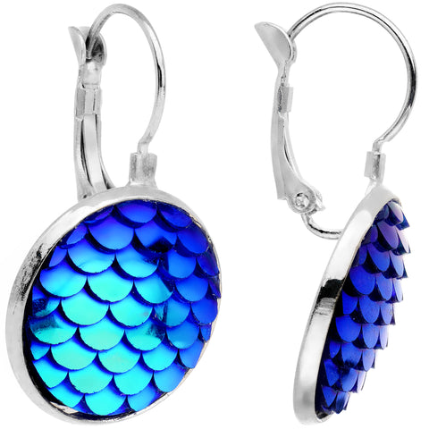 Handcrafted Iridescent Mermaid Scale Leverback Earrings