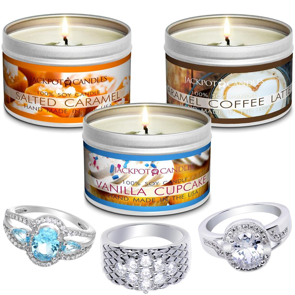 Dessert 3-Pack Jewelry Ring Candle Travel Tin Gift Set