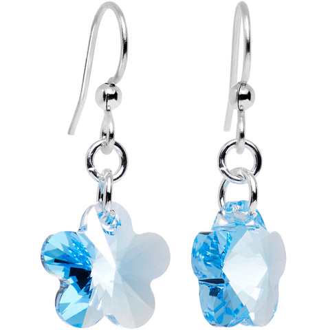 Handcrafted Blue Flower Earrings Created with Swarovski Crystals