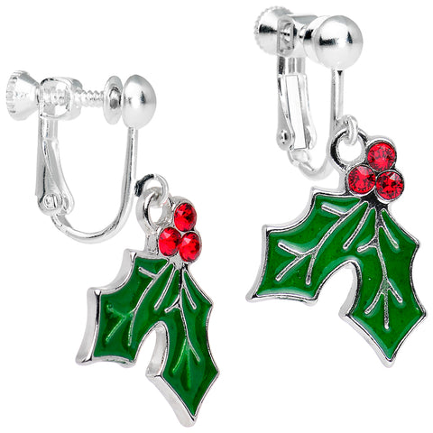 Holiday Holly Clip Dangle Earring Created with Swarovski Crystals