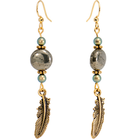 Gold Plated Pyrite Feather Earrings Created with Swarovski Crystals