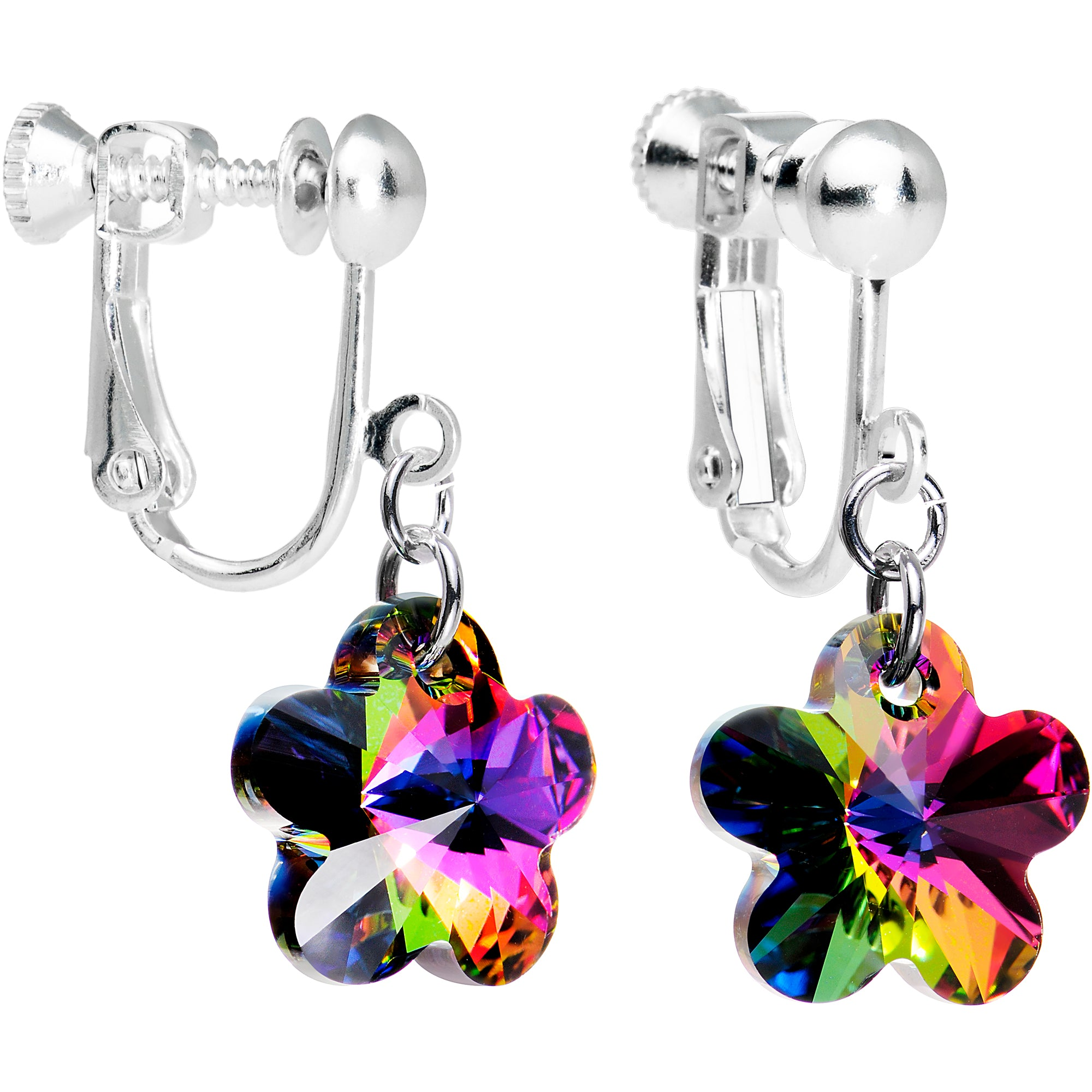 Vitrail Flower Clip On Earrings Created with Swarovski Crystals