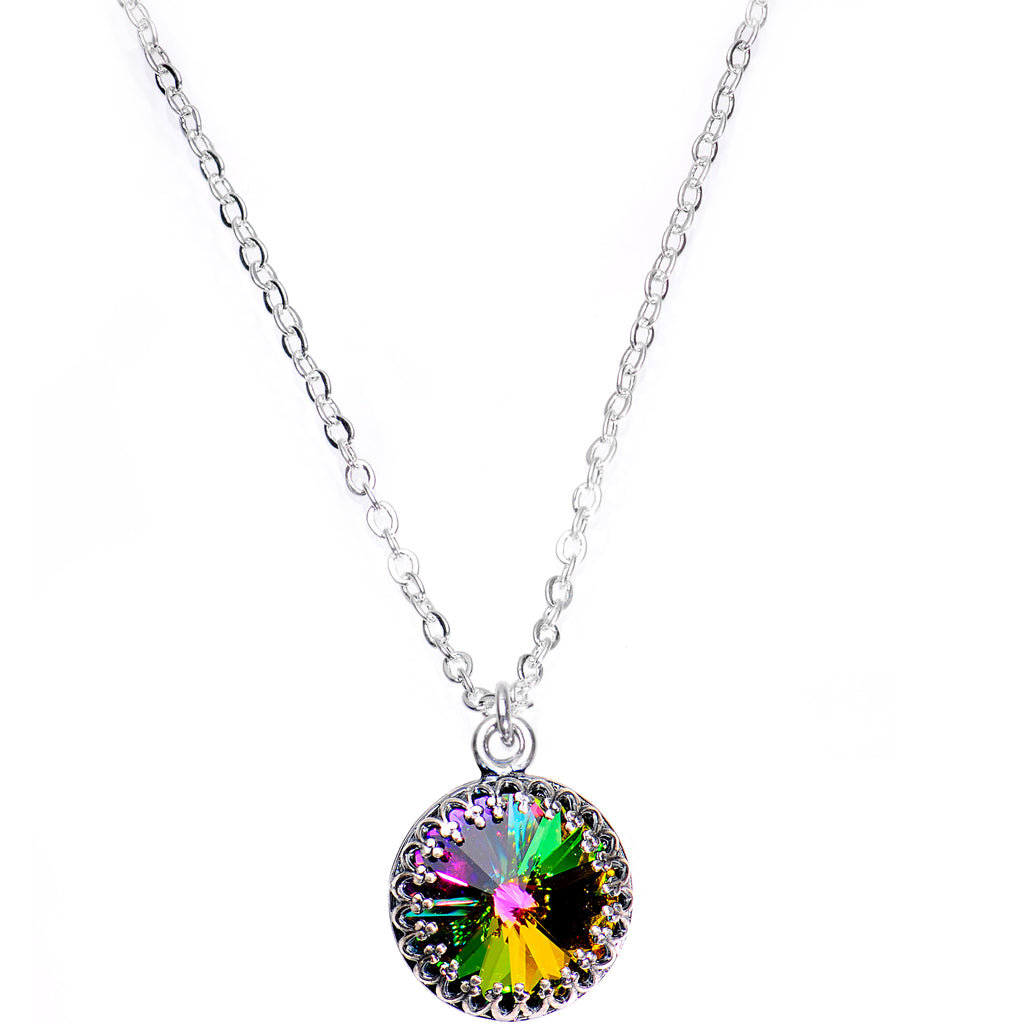 Handmade Rainbow Bombastic Necklace Created with Swarovski Crystals