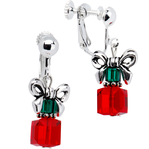 Red Holiday Present Clip On Earrings Created with Swarovski Crystals