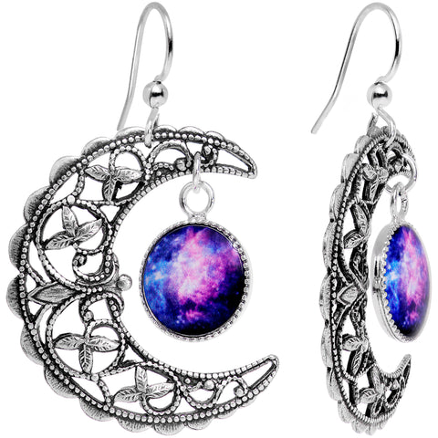 Handcrafted Silver Plated Celestial Galaxy Moon Dangle Earrings