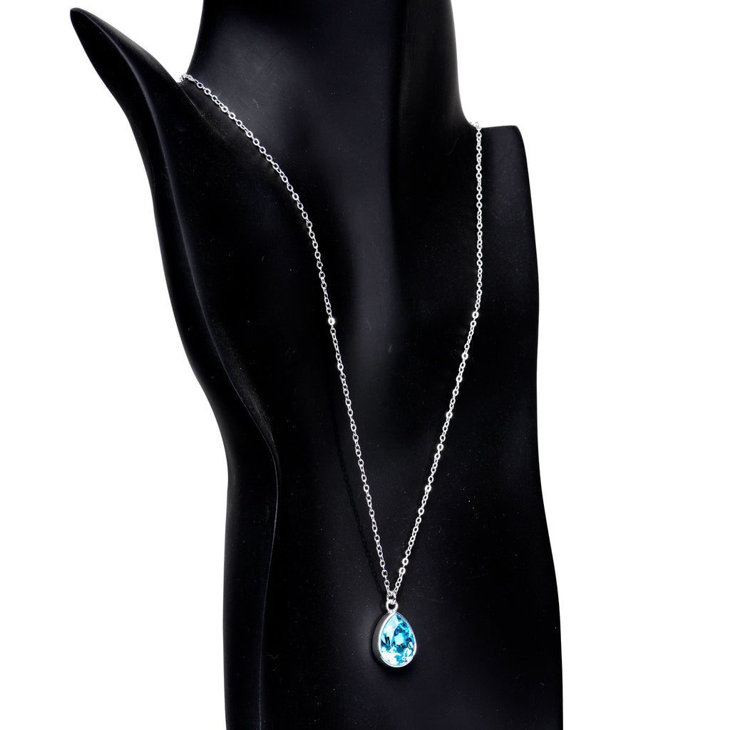 Silver Plated Aqua Raindrop Necklace Created with Swarovski Crystals