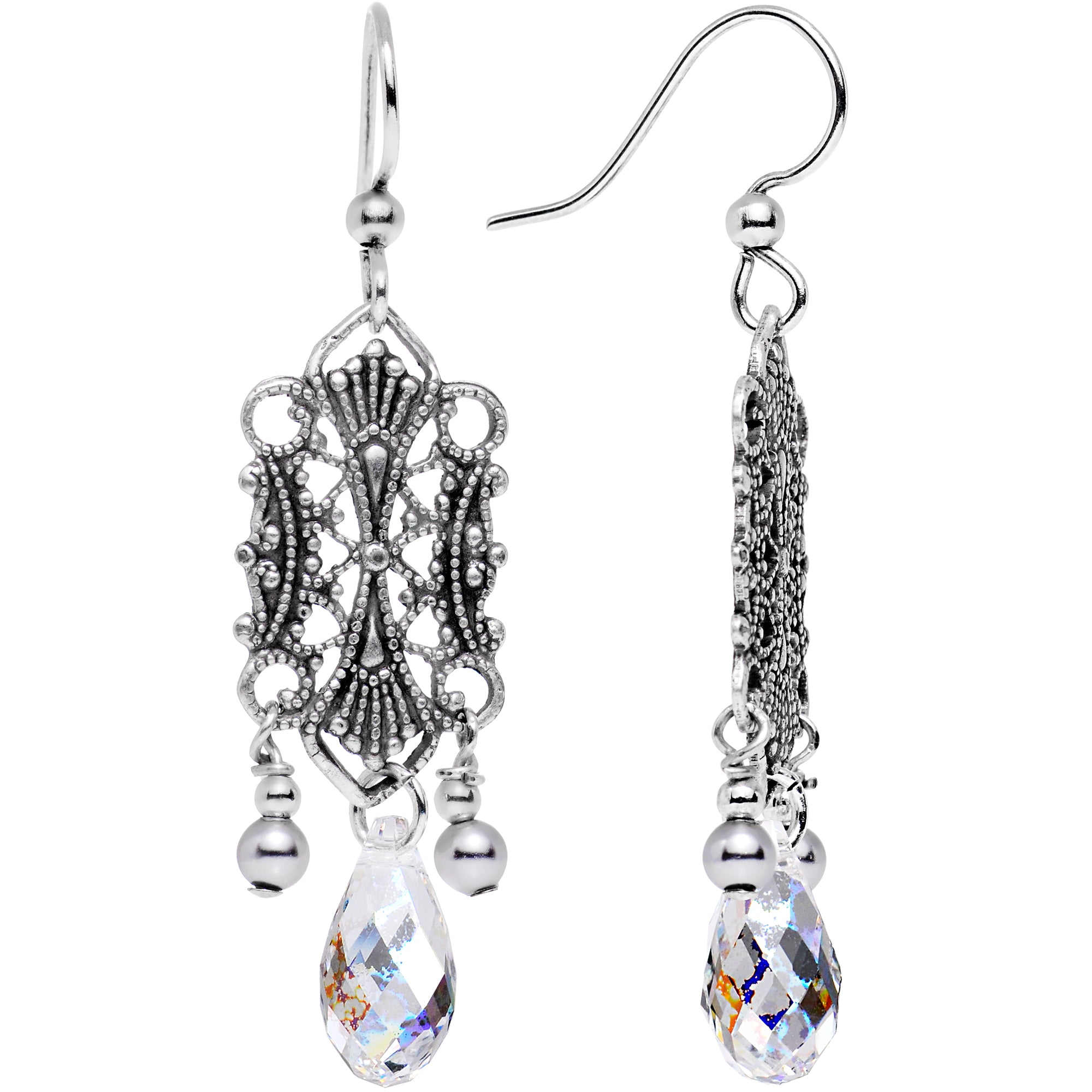 Handcrafted Clear Lattice Earrings Created with Swarovski Crystals