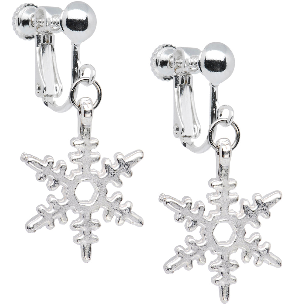 Holiday Winter Snowflake Clip Earrings
