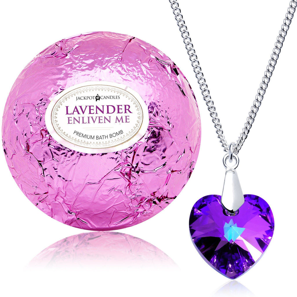 Enliven Me Lavender Bath Bomb with Necklace Created with Swarovski Crystal