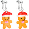 Silver Plated Holiday Gingerbread Santa Clip On Earrings